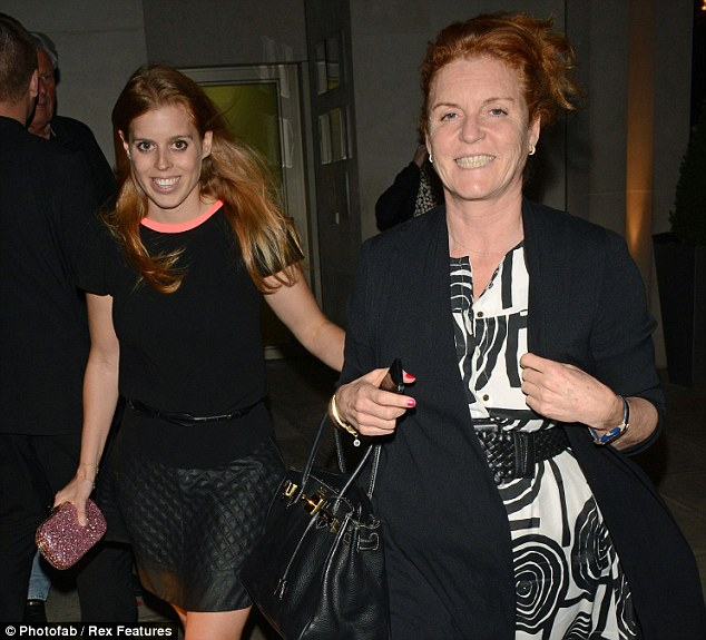 Family fun: Princess Beatrice joined her mother and sister Princess Eugenie for a night out at LouLou's
