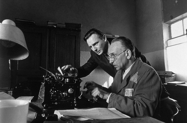 They made it into a movie: Actors Liam Neeson and Ben Kingsley on the set of Schindler's List