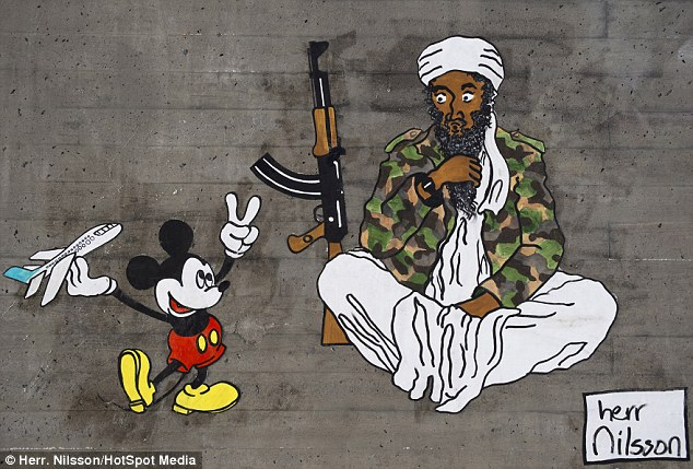 Chill out: Mickey Mouse makes a peace symbol to Osama Bin Laden in the sketch by Herr. Nilsson
