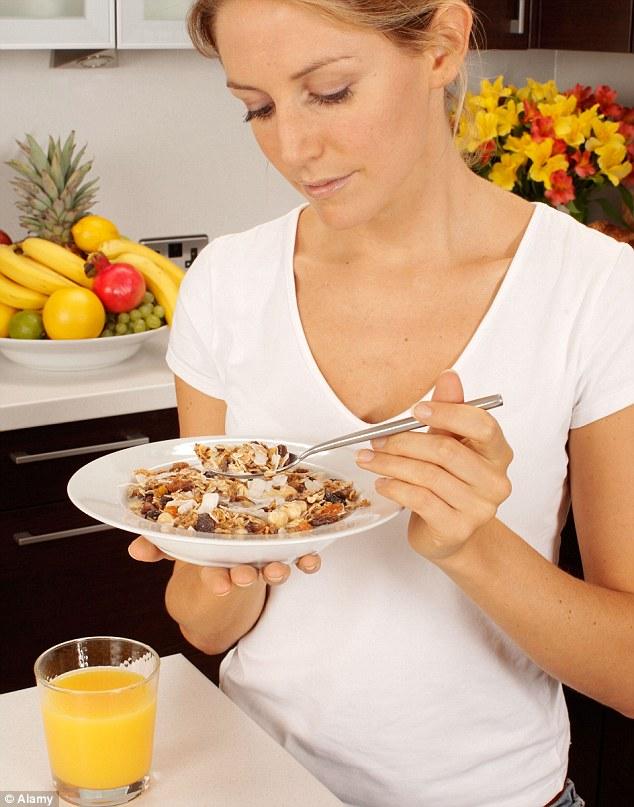 Not such a healthy breakfast: Fruity muesli and orange juice is high in sugar