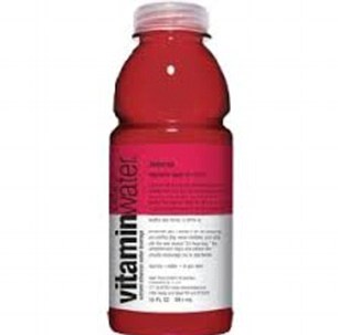 A bottle of Vitamin Water, left has 7.5g sugar