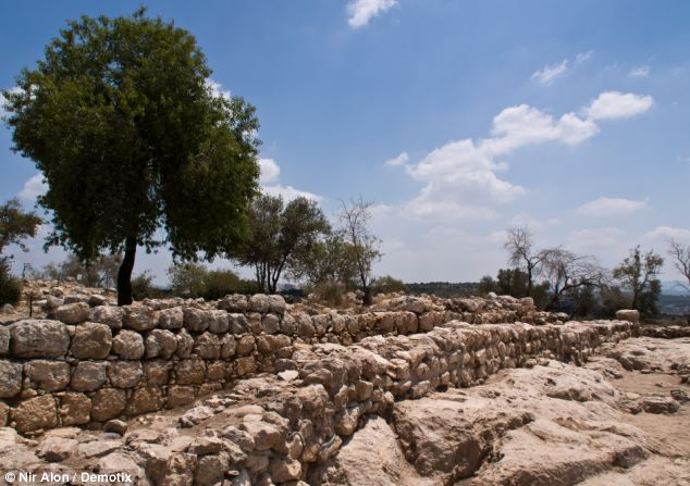 Pictured are the remains of a 30 meter long wall of the palace