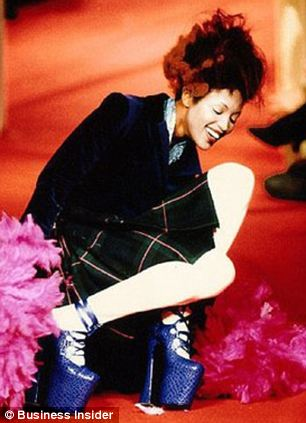 Falling down: In 1993, Naomi Campbell famously took a tumble on the runway in 12-inch platforms