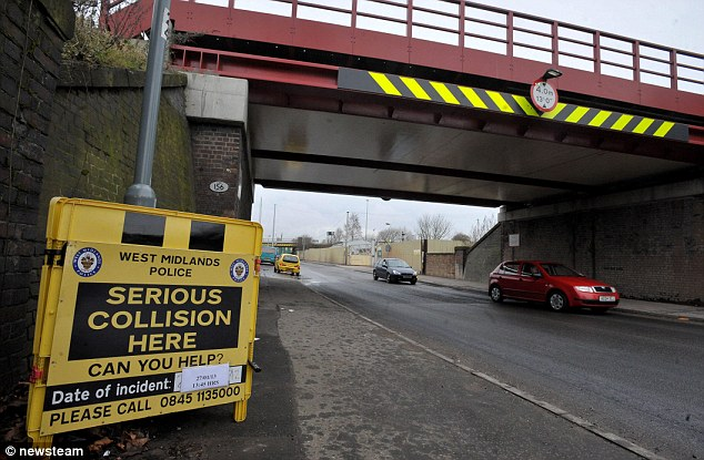 Tragedy: The crash scene on Landor Street, Birmingham, where Ahtia Tabasim who, along with her unborn child, was killed