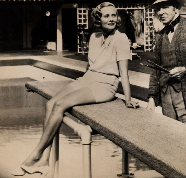 No model aunt: Cara Delevingne's great-aunt, Doris Viscountess Castleross, pictured in her sun suit posing for Sir John Lavery at Palm Springs in California, made her way from Beckenham to Mayfair via many society beds