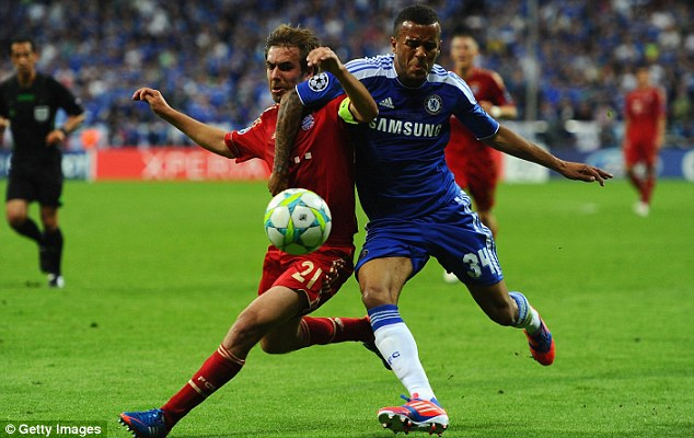 Competitor: Ryan Bertrand holds off Bayern Munich's Philipp Lahm (left) in the Champions League final