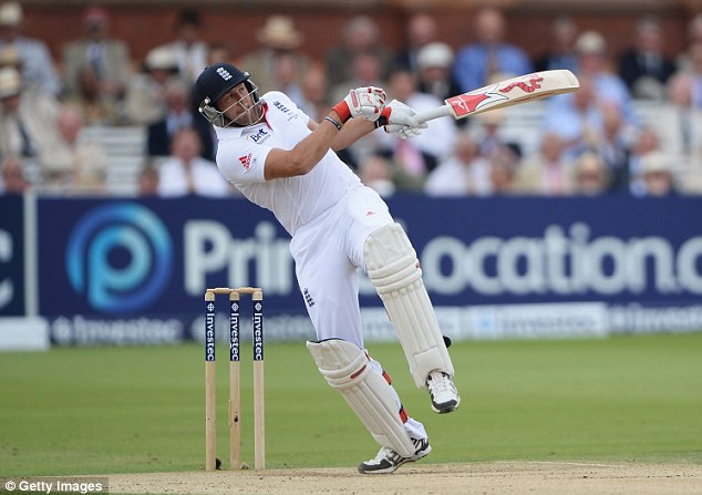 On the pull: Bresnan plays a short-pitched delivery
