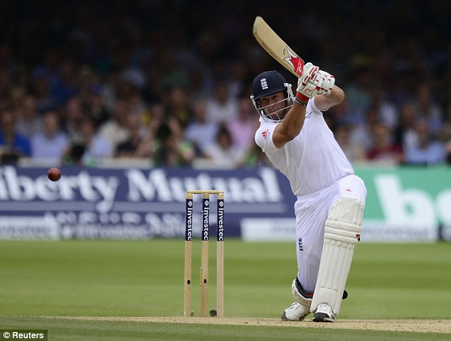 Able support: Tim Bresnan hits into the off side