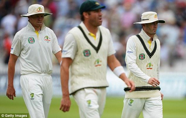 Plenty to ponder: Australia head back into the pavilion at lunch