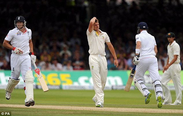 Toiling away: Pattinson reflects as England pile on the runs