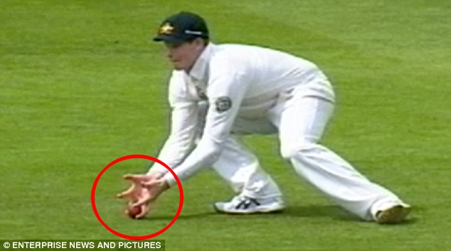Controversy: The 'catch' by Steve Smith at gully which the umpires decided did not carry
