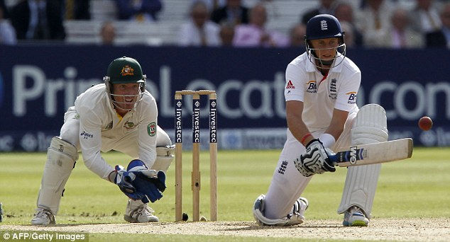All the shots: Root hits a reverse paddle watched by Brad Haddin