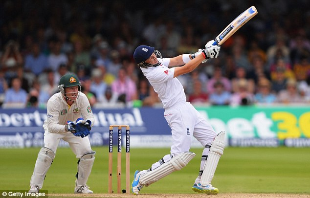 Maximum: Root winds up and hits Steve Smith for six