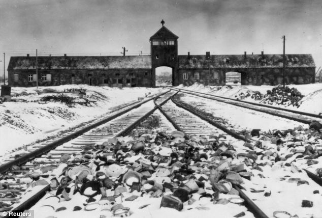 The poster for Operation Last Chance II features the gates to Auschwitz-Birkenau, the camp where 1.3million people are thought to have died