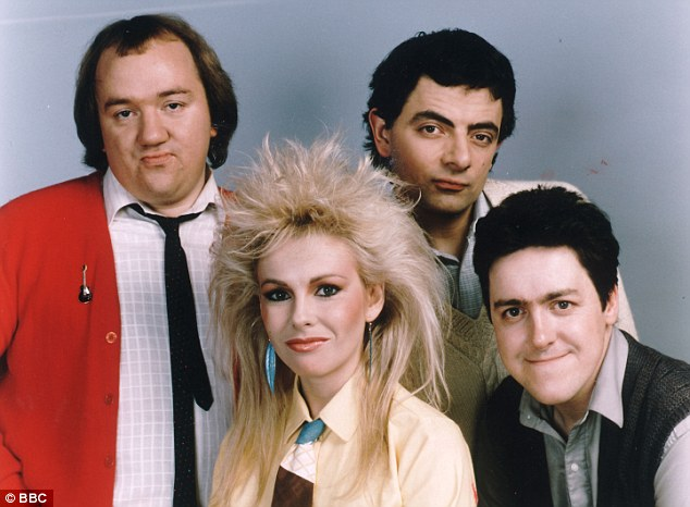 Comedy classic: Mel Smith (left) with his co-stars in Not The Nine O'Clock News Rowan Atkinson (back right) Pamela Stephenson (centre) and Griff Rhys Jones (front right)
