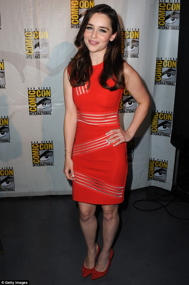 Lady in red: Emilia Clarke made a stunning impression as she attended the Game Of Thrones panel at San Diego's Comic-Con on Friday