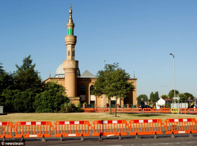Caution: A police cordon was erected around Wolverhampton Mosque  as police investigated reports that a device had been activated