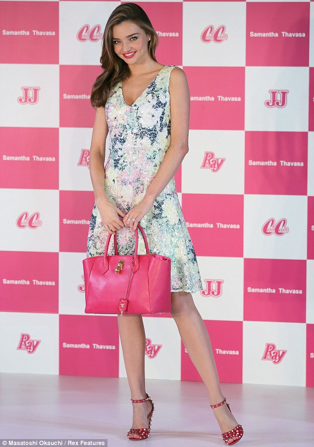 Pretty in pink: The Victoria's Secret model attended the Samantha Thavasa Ladies Tournament in Ami, Ibaraki, Japan on Friday