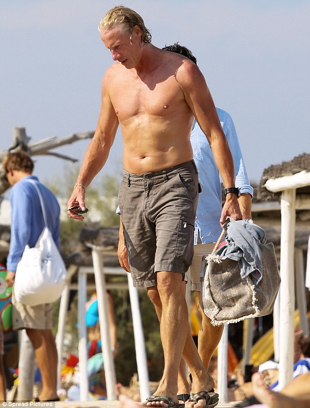 Still got it: Björn looked sun-kissed and toned from a day of fun and exercise at Club 55, St Tropez