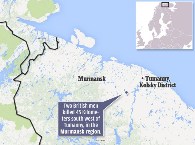 Two British men killed 45km south west of Tummany, in the Murmansk region