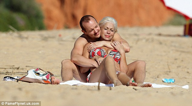 Chilling out: Newlyweds Denise Welch relaxes with her toyboy hubby Lincoln Townley