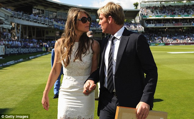 Genius: Shane Warne with his fiancee Elizabeth Hurley at Lord's