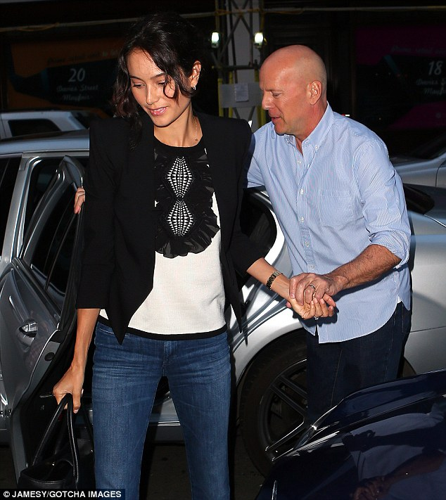 Fancy seeing you here: Bruce Willis and his wife Emma joined them inside as they also enjoyed some time in the British capital
