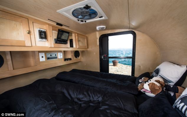 Designed for two people, the inside features creature comforts including a TV, DVD player and audio equipment, charged by a solar power module
