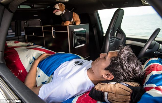 The Mini Clubvan Camper has a sleeping berth for one person - but as you can see, you sleep next to the steering wheel