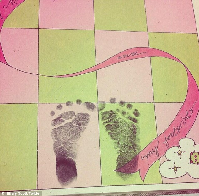 Happy birthday: Hillary shared footprints with her birth announcement