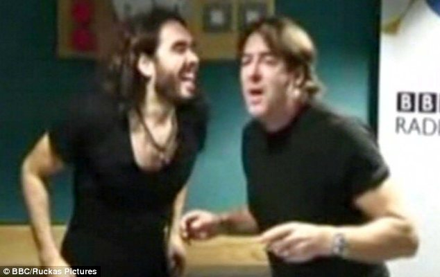 Tasteless: Russell Brand, left,  and Jonathan Ross singing an apology to Andrew Sachs