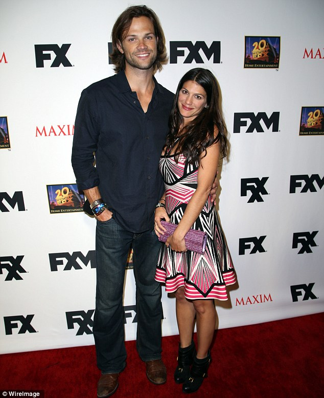 Expecting: Jared Padalecki and his wife Genevieve Cortese announced their pregnancy on Sunday, pictured on Friday night at party in San Diego, California
