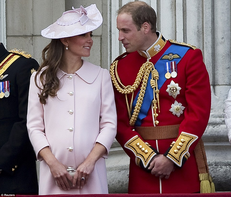 Final appearance: The Duchess of Cambridge on the balcony of Buckingham Palace with her husband Prince William as she is seen in public for the last time