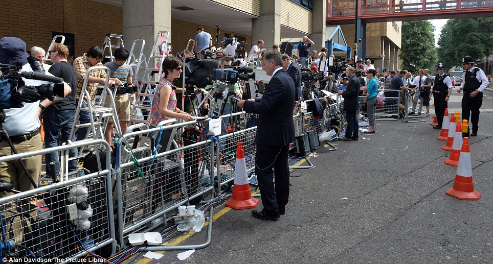 Press pack: The Lindo Wing where the media is waiting for news about the impending royal birth