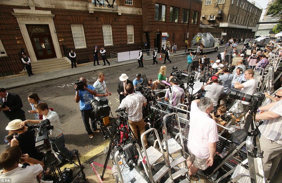 World's media watching: The press pen outside the Lindo Wing at St Mary's Hospital where Kate has been in labour