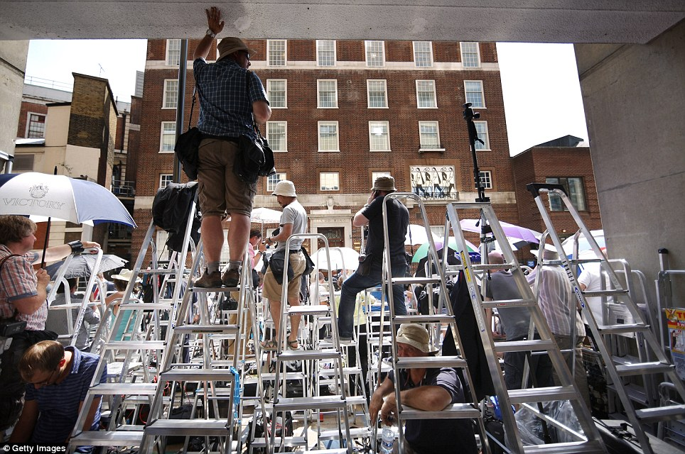 Close-up: Ladders lined up outside the hospital as the world waits for the royal birth