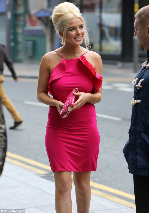 Hair raising: Helen Flanagan showed off her big hair as she headed to film Celebrity Super Spa in Liverpool on Monday