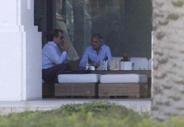 Pictured: Franco Baldini (right) in talks with Soldado's agent