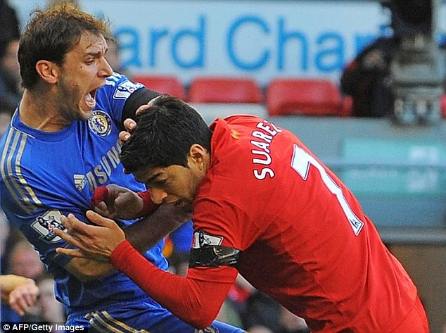 Controversial: Suarez's bite on Branislav Ivanovic meant he received a 10-game ban