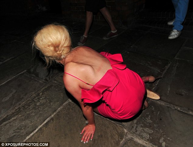 Down she goes: Perhaps Helen had enjoyed one too many alcoholic beverages at dinner