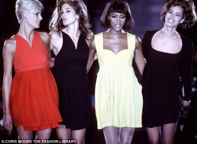 He made them: Linda Evangelista, Cindy Crawford, Naimo Campbell and Christy Turlington parade the Versache catwalk in Milan in 1991 at the height of their fame