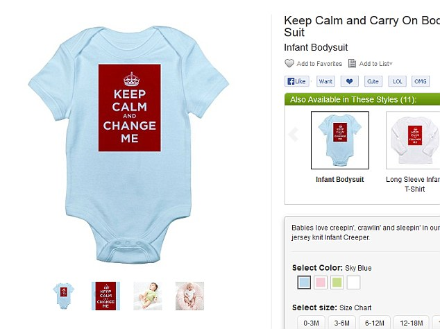 Royal theme: A baby outfit which has gone on sale for £14 on cafepress.co.uk