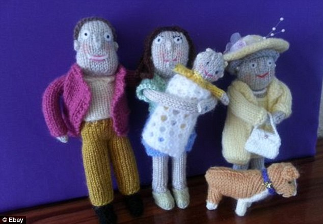 Hand knitted royal scene: Prince William and Kate clutch a very large child as they stand with the Queen in this royal product on sale on eBay