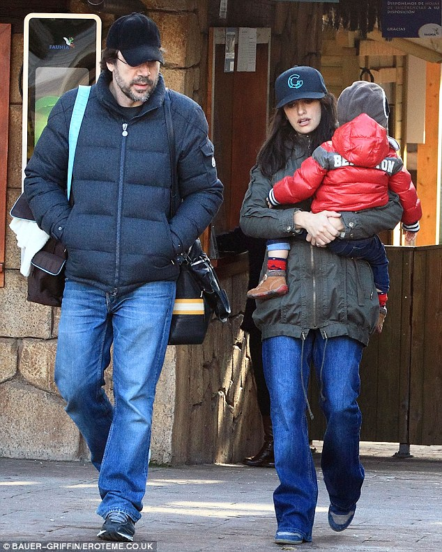 Happy families: Penelope and Javier already have a two-year-old son, Leo, who they welcomed in January, 2011