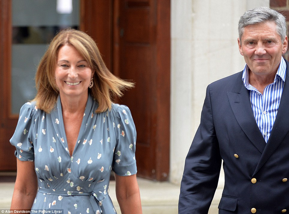 Exit: After an hour in the Lindo Wing at St Mary's Hospital, Carole and Michael Middleton leave after seeing their grandson for the first time