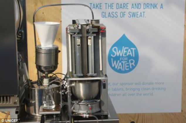 Children's charity UNICEF has created the Sweat Machine (pictured) that squeezes sweat from people's clothes, filters it and turns it into purified drinking water