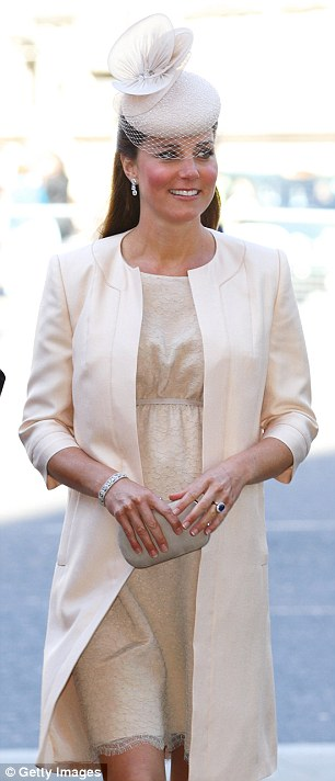 Kate - seen here last month at a service of celebration to mark the 60th anniversary of the Coronation of Queen Elizabeth II at Westminster Abbey - has her hair done by Amanda Cook Tucker at home