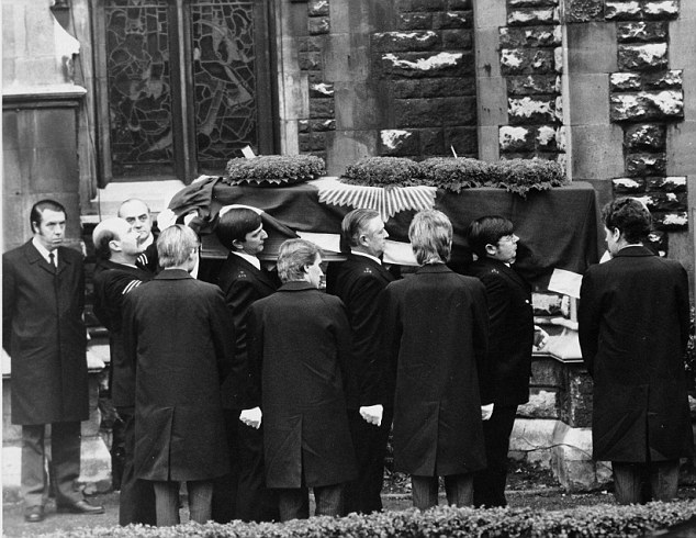 Funeral: PC Keith Blakelock's coffin, draped in the blue Metropolitan Police flag, is carried by six policemen into St James' Church, Muswell Hill, north London