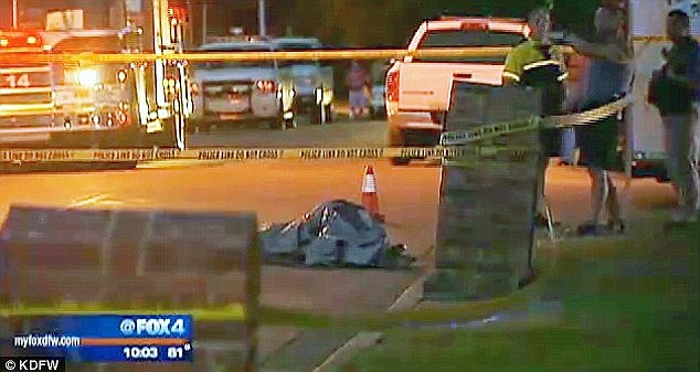 Heartbreaking: The arrest comes after Alanna's body was found tied and partially naked with a bag over her head under this tarp in the street. A 14-year-old boy found her body