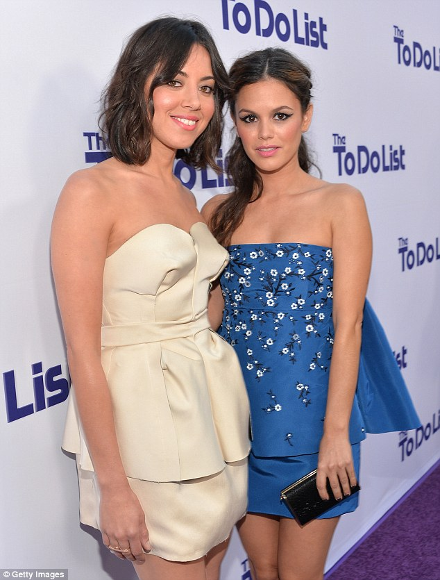 Shining stars: Rachel was joined on the red carpet by co-star Aubrey Plaza, who plays the lead role of Brandy Klark in the movie